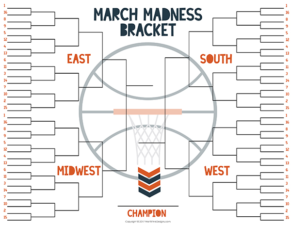 NCAA Free Tournament Bracket Free Printable Included