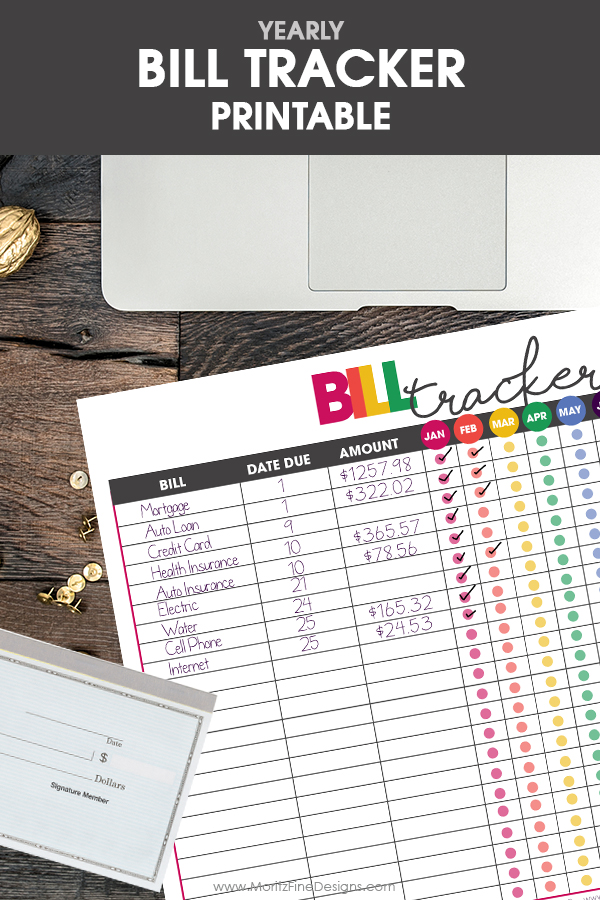 Bill Tracker to Organize Your Finances Free Printable