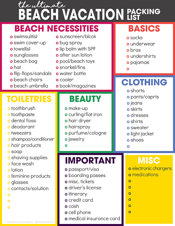beach supplies list - Josemulinohouse - packing lists