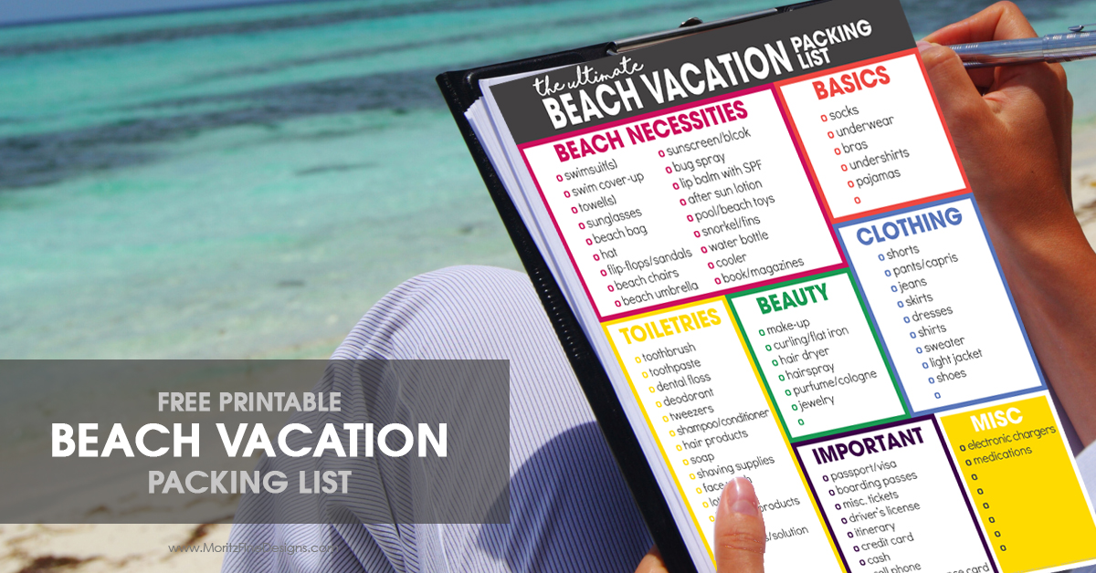 The Ultimate Beach Vacation Packing List Free Printable - packing list