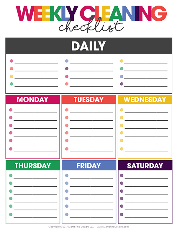 Free Weekly Cleaning Checklist Free Printable Included