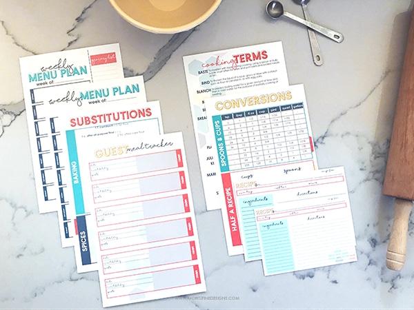 DIY Printable Recipe Binder Kit Free Printables Included