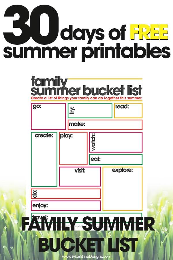 Family Summer Bucket List Free Summer Printables Day #14 Moritz