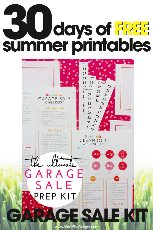 Garage Sale Prep Kit Free Printable to Get You Organized