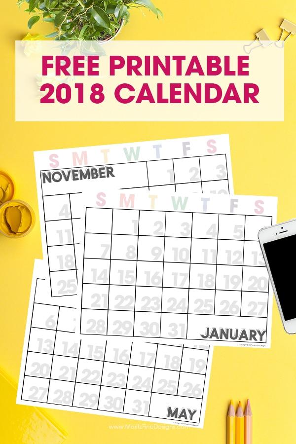 2018 Free Printable Calendar Editable Monthly Calendar