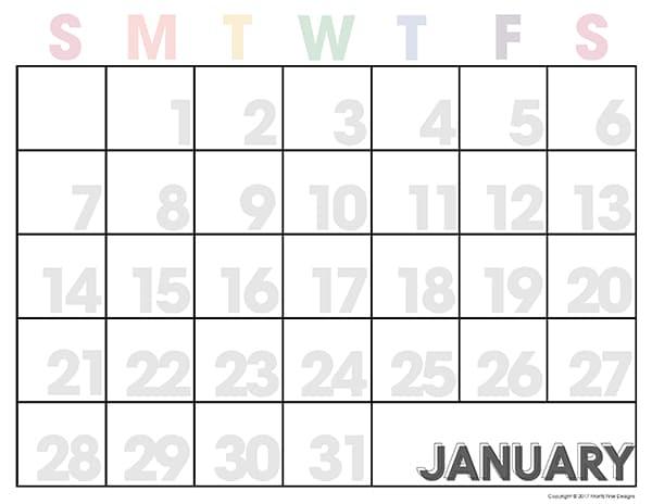 2018 Free Printable Calendar Editable Monthly Calendar - free printable calendar
