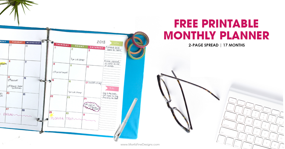 2018 Monthly Planner Free Printable Calendar, 2-Page Spread - free printable monthly calendar