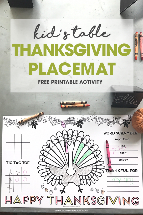 Thanksgiving Placemat for Kids Free Printable DIY Activity Placemat