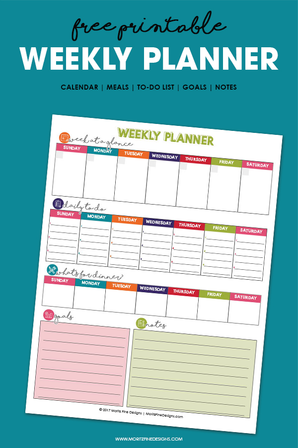 Free Printable Weekly Planner Calendar, Meals, To-Do List  More - Free Printable Weekly Planner