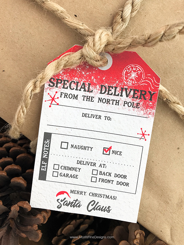 Free Printable Santa Gift Tag Christmas Delivery from the North Pole