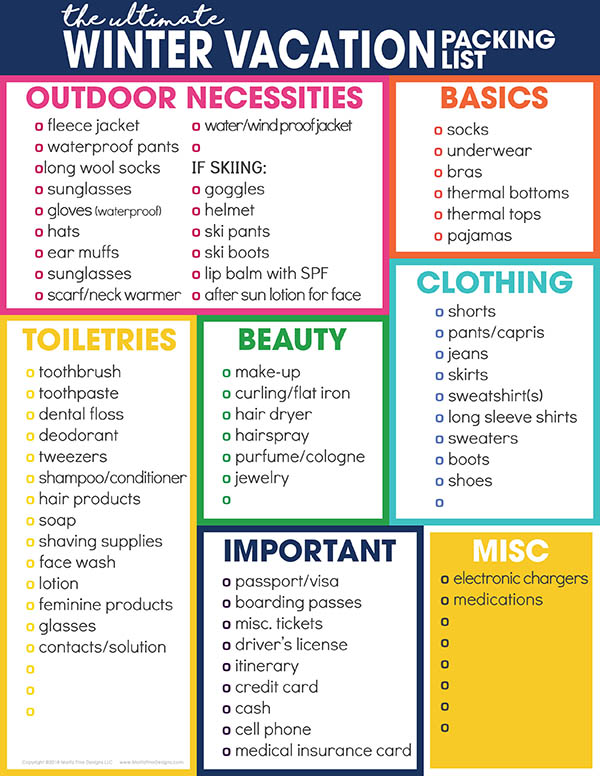 Winter Vacation Packing List For Cold Weather Free Printable