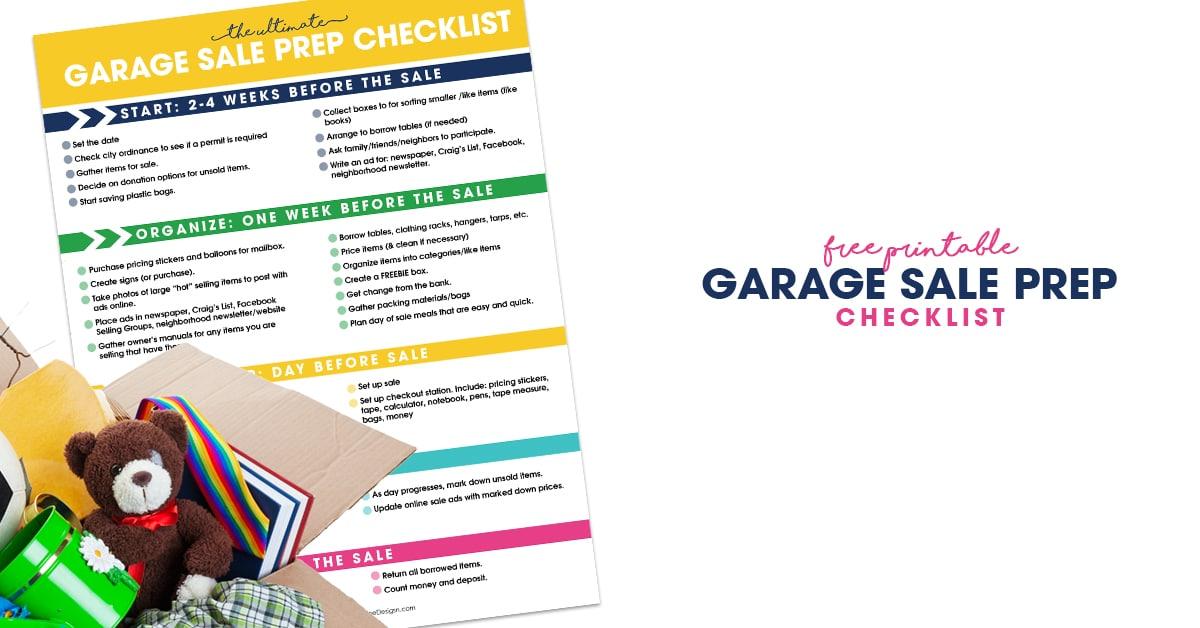 Garage Sale Prep Checklist Free Printable Organizer for Garage Sales