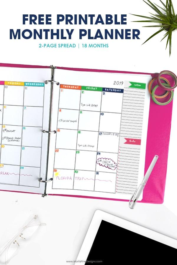 2018-2019 Monthly Planner Calendar Free Printable Planner