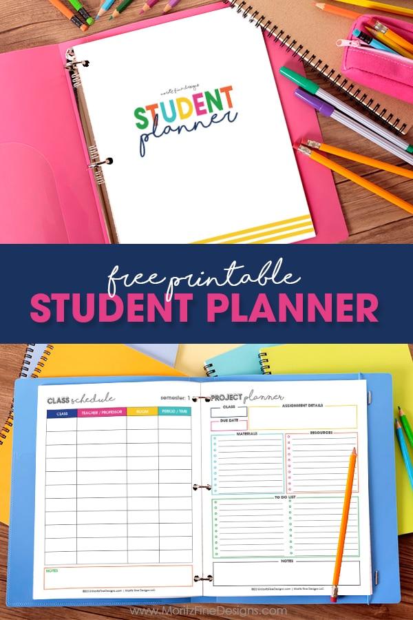 Free Printable Student Planner Elementary, Junior High, High