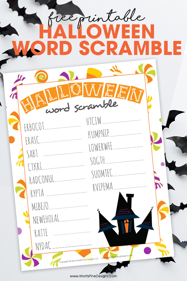 Halloween Word Scramble Fun, Free Printable Activity for Kids