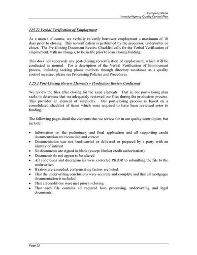 Lender Quality Control Plan - Mortgage Manuals - control plan