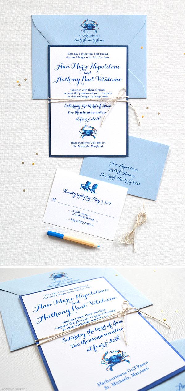 Blue Crab Wedding Invitations CUSTOM WATERCOLOR WEDDING