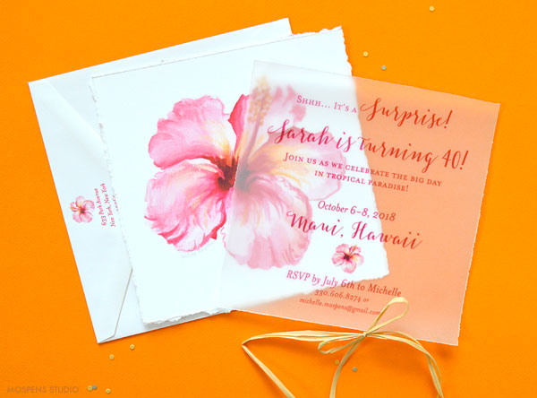 Tropical Flower Party Invitations