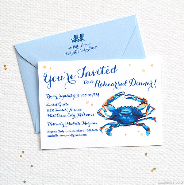 Watercolor Blue Crab Rehearsal Dinner Invitations