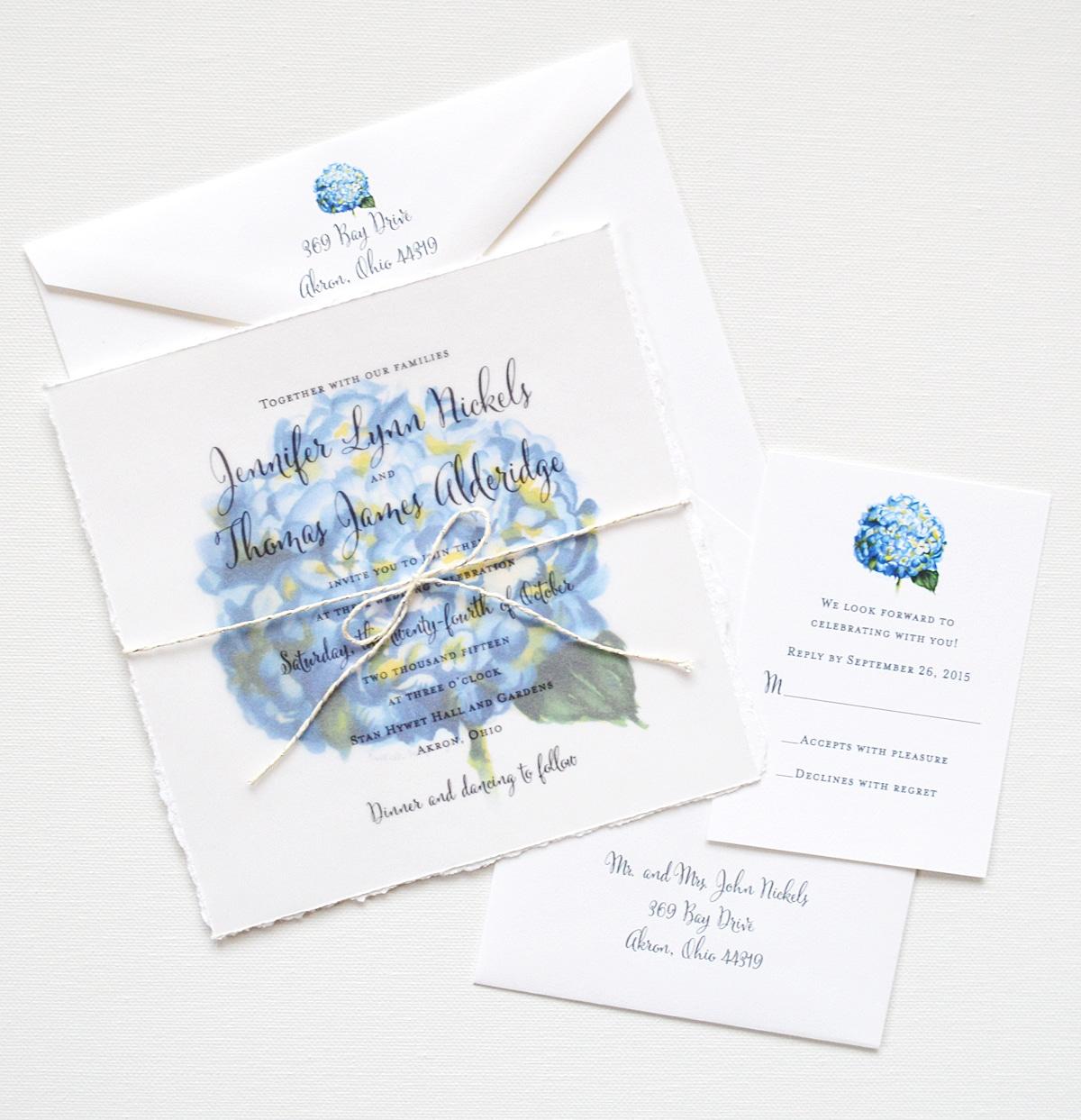 Watercolor Hydrangea Invitation Suite Elegant Custom