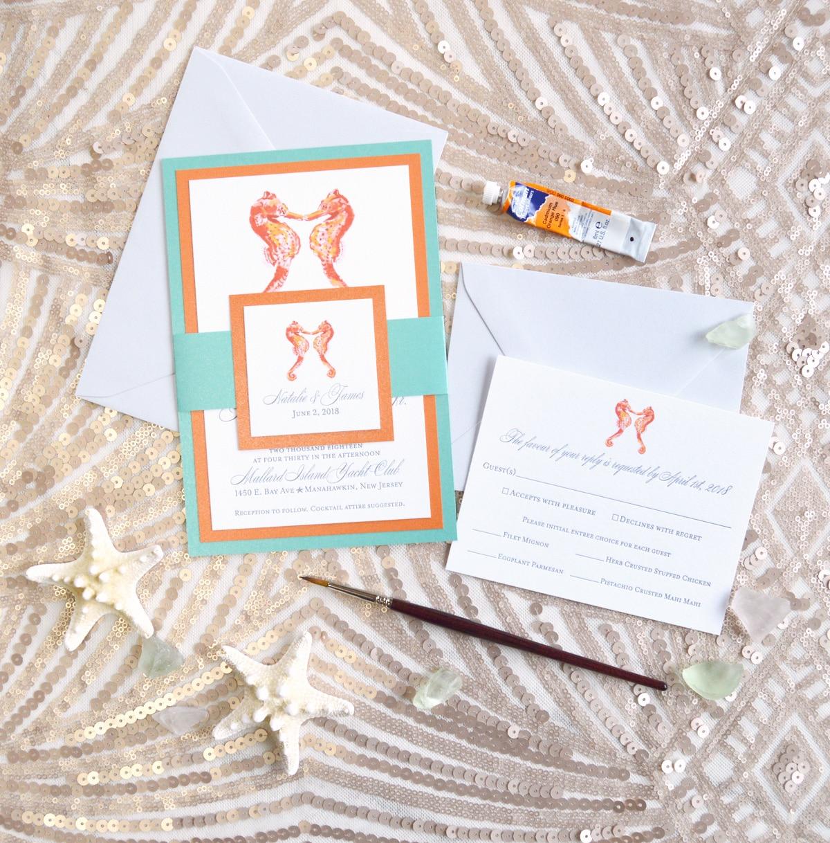 Supple Letterpress Beach Wedding Invitations By Artistmichelle Mospens Studio Custom Letterpress Invitations Letterpress Wedding Watercolor Seahorses wedding invitation Letterpress Wedding Invitations