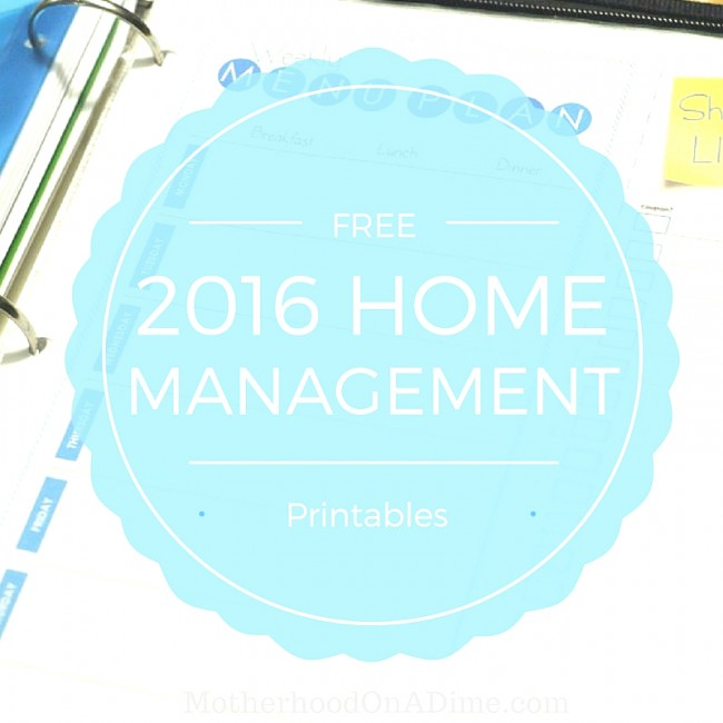 FREE Home Management Binder Printables for 2016 - Kids Activities