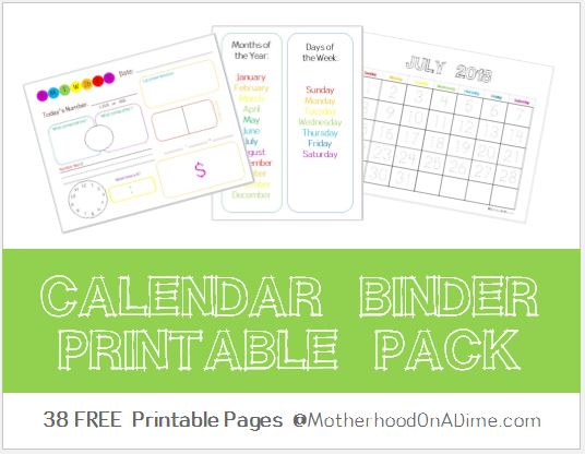 Calendar Binder (Free Printables) - Kids Activities Saving Money