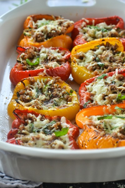 Roasted Stuffed Peppers with Italian Sausage and Balsamic Glaze - Mother Thyme