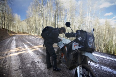 Jamie looking for the best motorbike route