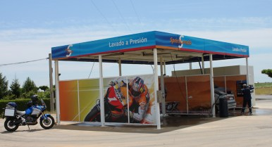 A car wash with pictures of motorbikes! The Spanish are bike mad