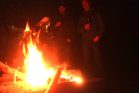 After riding all day a roaring camp fire is the perfect end