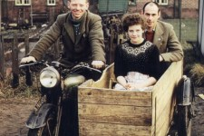 Wilky and his home made sidecar with wife madge and a friend