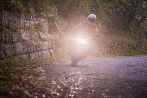 Riding the twisty roads in the early evening