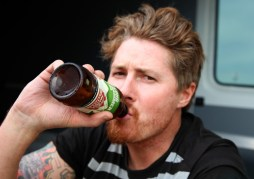Mr Sands, a multi-race winner enjoys a well earned beer at the end of the day.