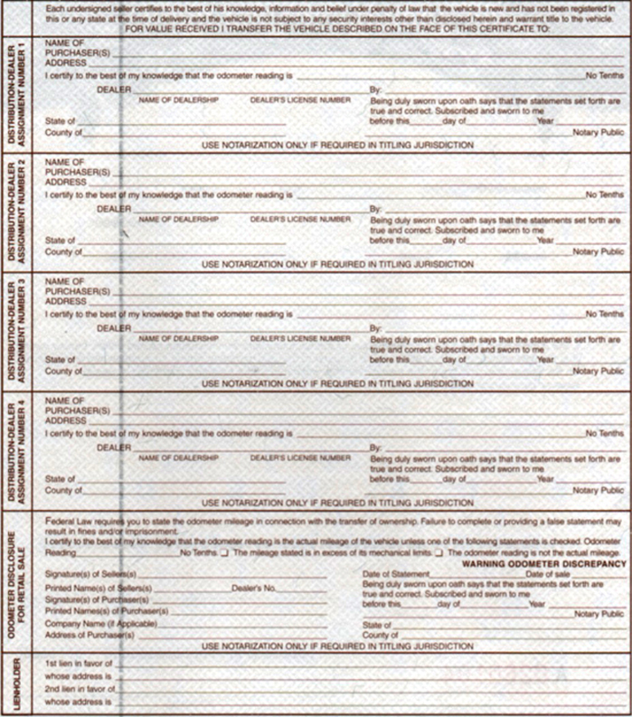 UNVIVERSAL MCO / MSO Forms for for motorcycle frames, engines, etc - Certificate Of Origin Forms