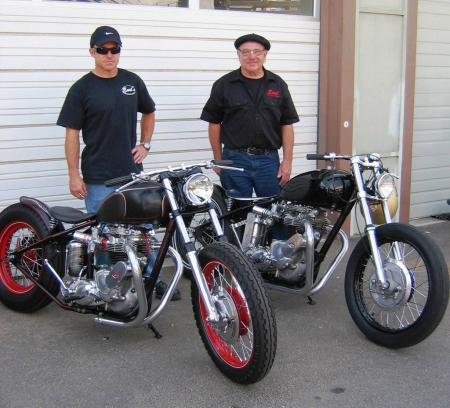 Earl and son Brian, a fireman by profession, share similar tastes in hot Triumphs.
