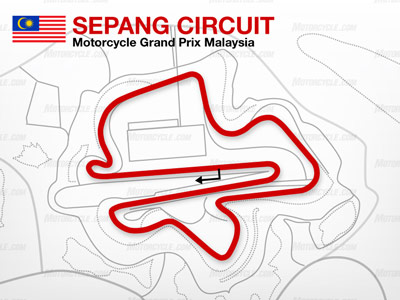 The Sepang Circuit is one of the longest tracks on the MotoGP schedule at 3.44 miles.
