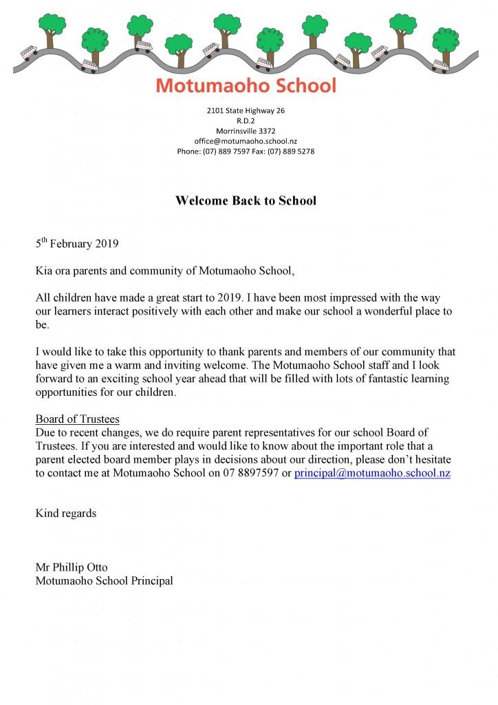 Motumaoho School - Welcome Back to School 2019!