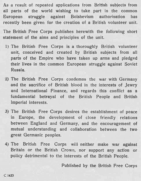 British Free Corps pamphlet written by British volunteer Frank - free pamphlet