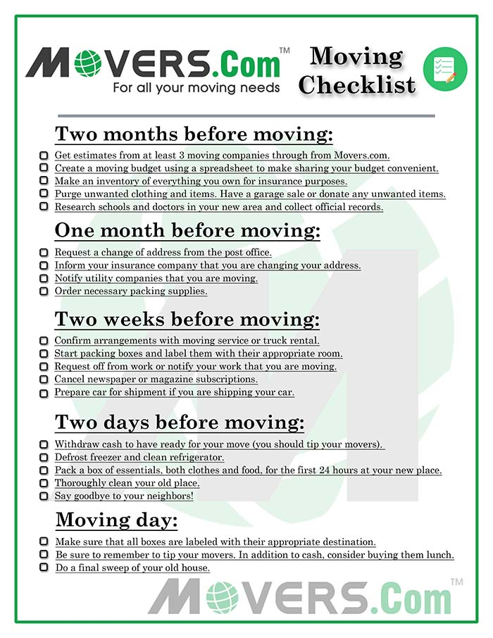 The Ultimate Moving Checklist - Movers