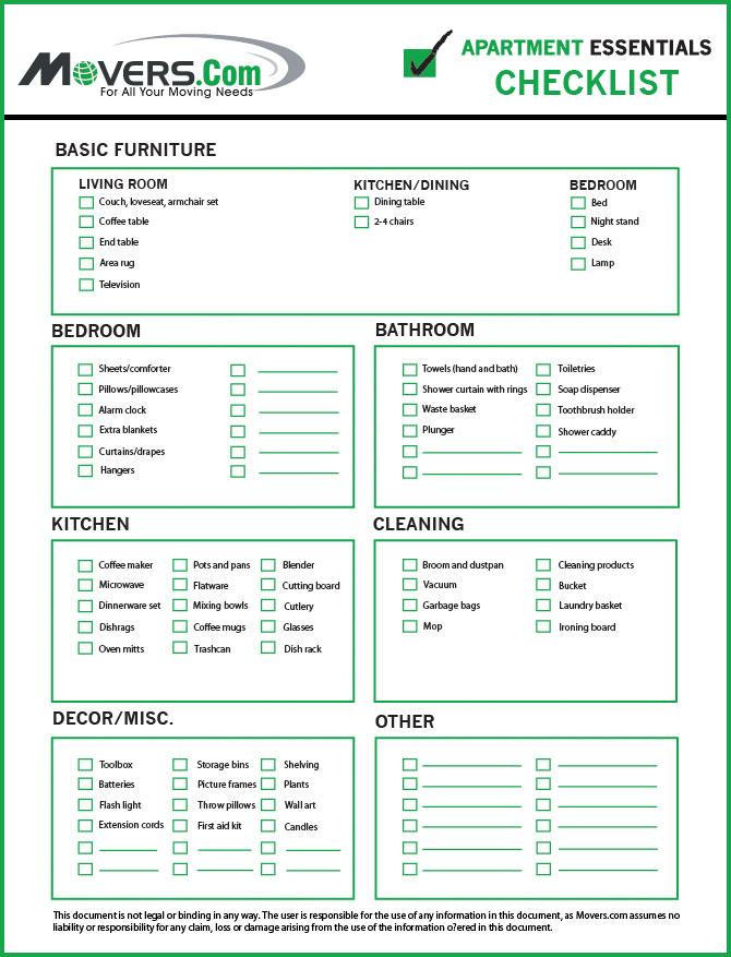 apartments checklist - Selol-ink - sample new apartment checklist