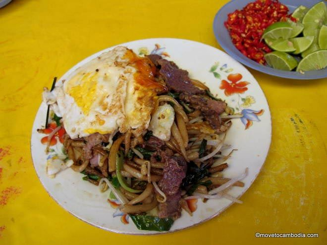 Cambodia street food fried noodles