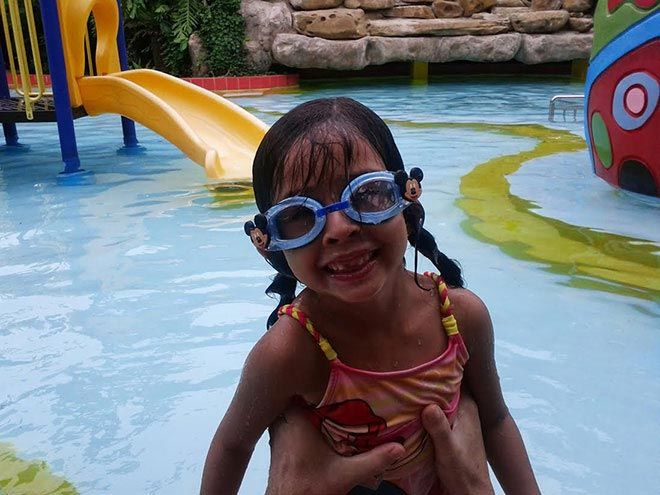 At the pool in Phnom Penh