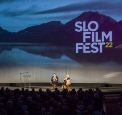 """Pismo the Surfing Goat, subject of a short film, entertains a sell-out """"Surf Nite in SLO"""" crowd at the San Luis Obispo International Film Festival"""