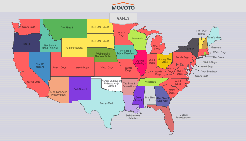 Most Torrented Game by State