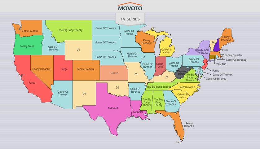 Most Torrented TV Show by State