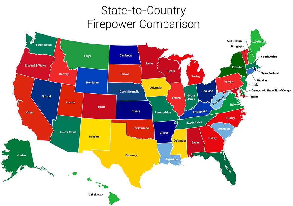 This Surprising Map Shows All 50 States Renamed For Countries With Similar Gun Ownership