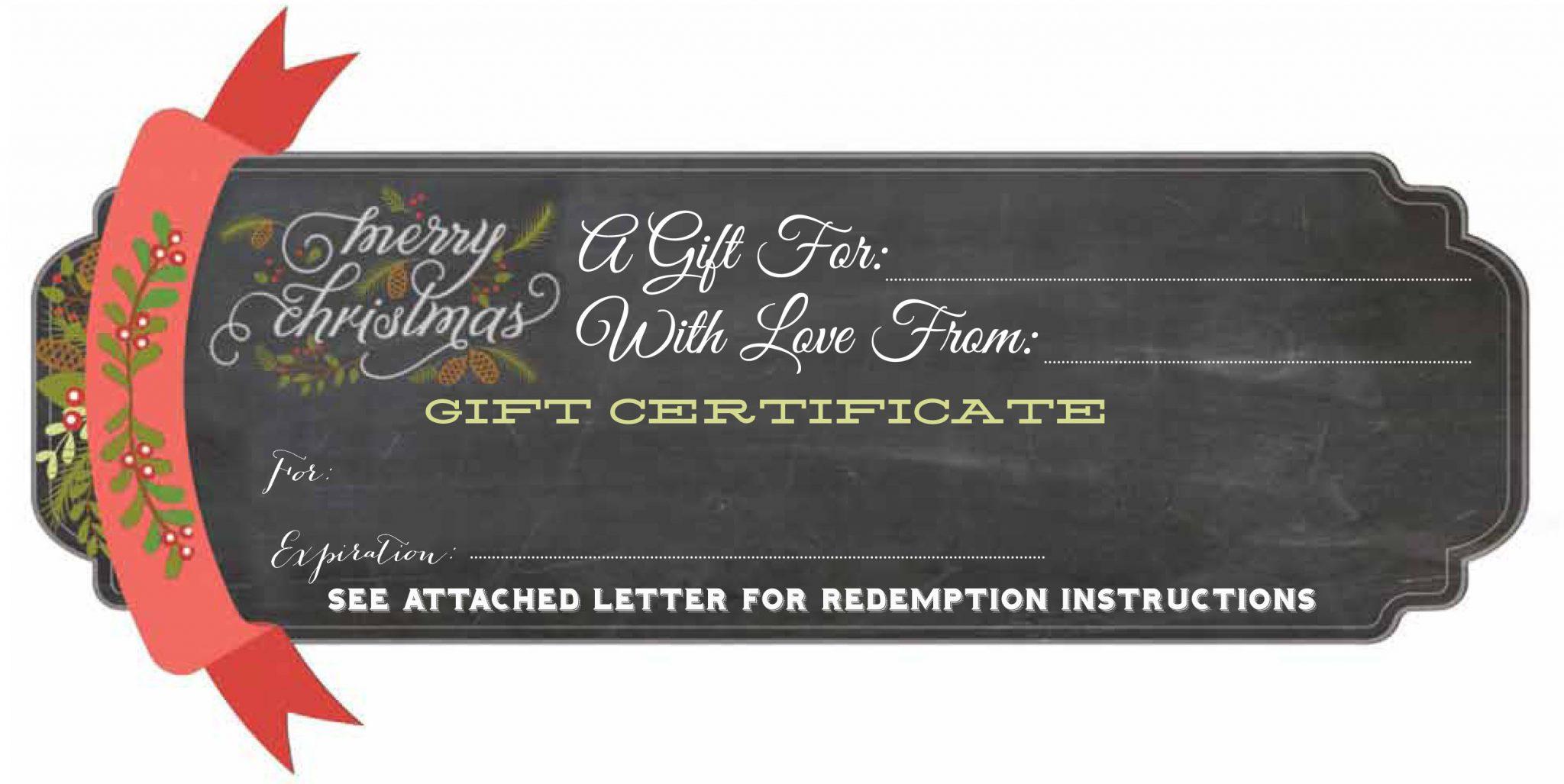 Free Printable Christmas Gift Certificates scottbuckleytk – Christmas Gift Certificates Free