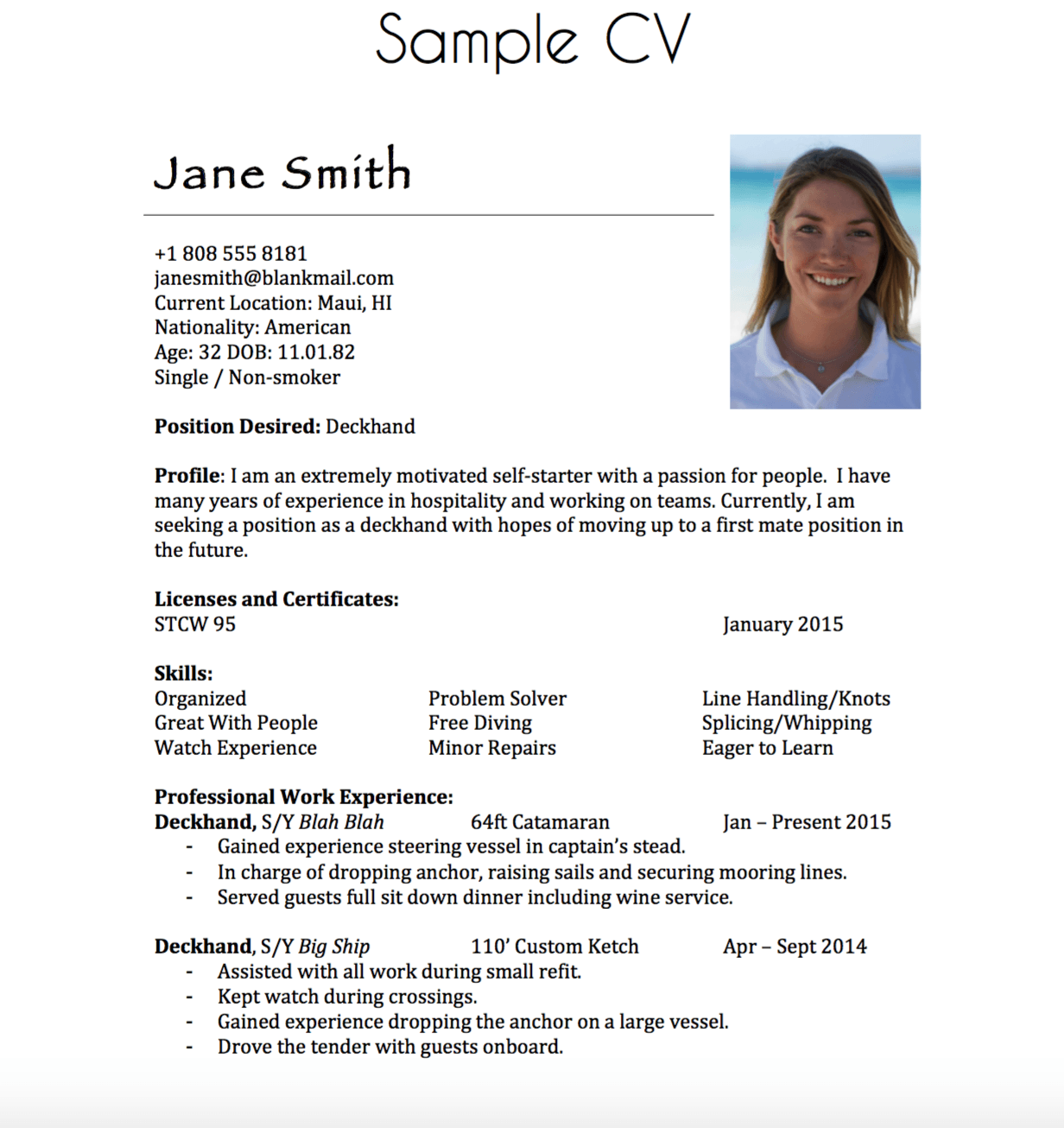 sailing resume sample