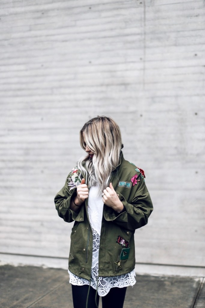 army green embroidered jacket styled by Christine Bennett of Moxie Fashion Blog